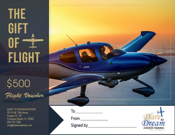 Dare to Dream Aviation Gift Certificate $500